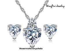 Made with Swarovski Heart Crystal 18K Gold Plated Necklace Pendant Earrings #S30