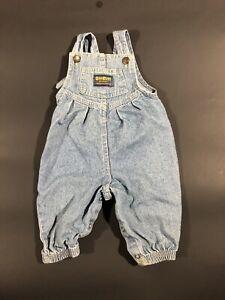 Vintage 90s USA Oshkosh BGosh Cotton Denim Bubble Fit Vestbak Overalls 6/8 Mo