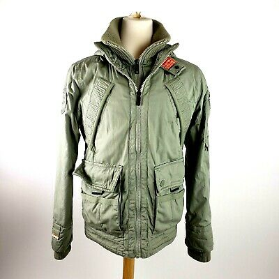 Superdry Men/'s Forest Night Green New Rookie Military Hooded Parka Jacket