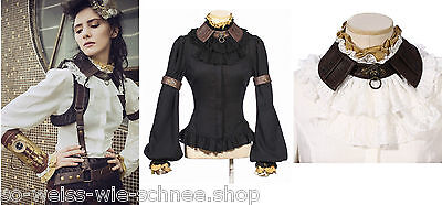 RQ-BL Steampunk SET Bluse Jabot Choker Gothic Armband Shirt LARP Victorian SP152