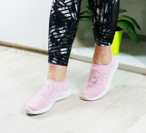 WOMEN LADIES DIAMANTE RUNNING TRAINERS FITNESS LIGHT WEIGHT GYM SPORT SHOES SIZE
