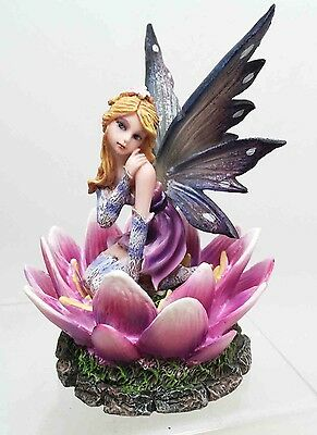 Beautiful Cute Flower Fairy Faery Sitting on Lotus Petal Magical Figurine Statue