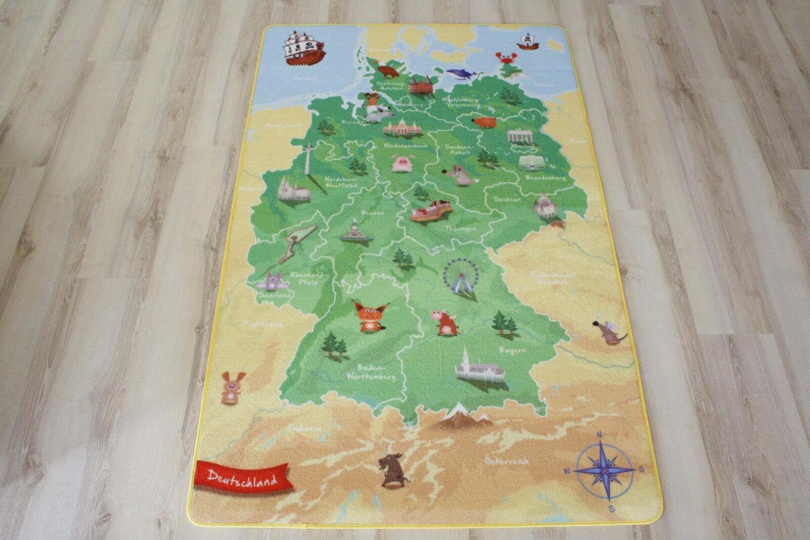 Enfants Tapis Tapis de Jeu Allemagne Carte 140x200cm