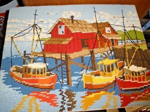 Finished-Needlepoint-picture-Boat-Dock-Bosta-Sea-Water-11-034-x-14-034