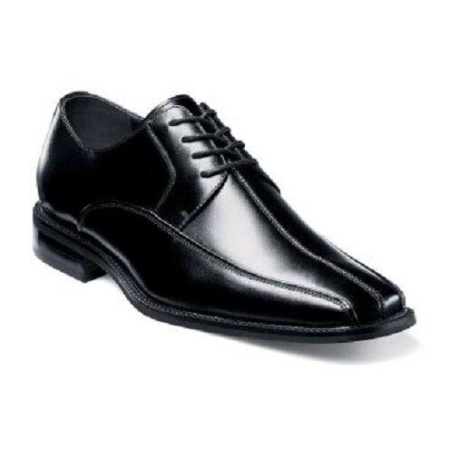 Stacy Adams Damon bike toe lace-up Mens shoes Black Leather dressy 20124-001
