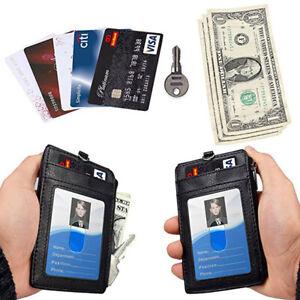 PU-Leather-ID-Badge-Card-Holder-Wallet-RFID-Blocking-Zipper-Pocket-5-Card-Slots