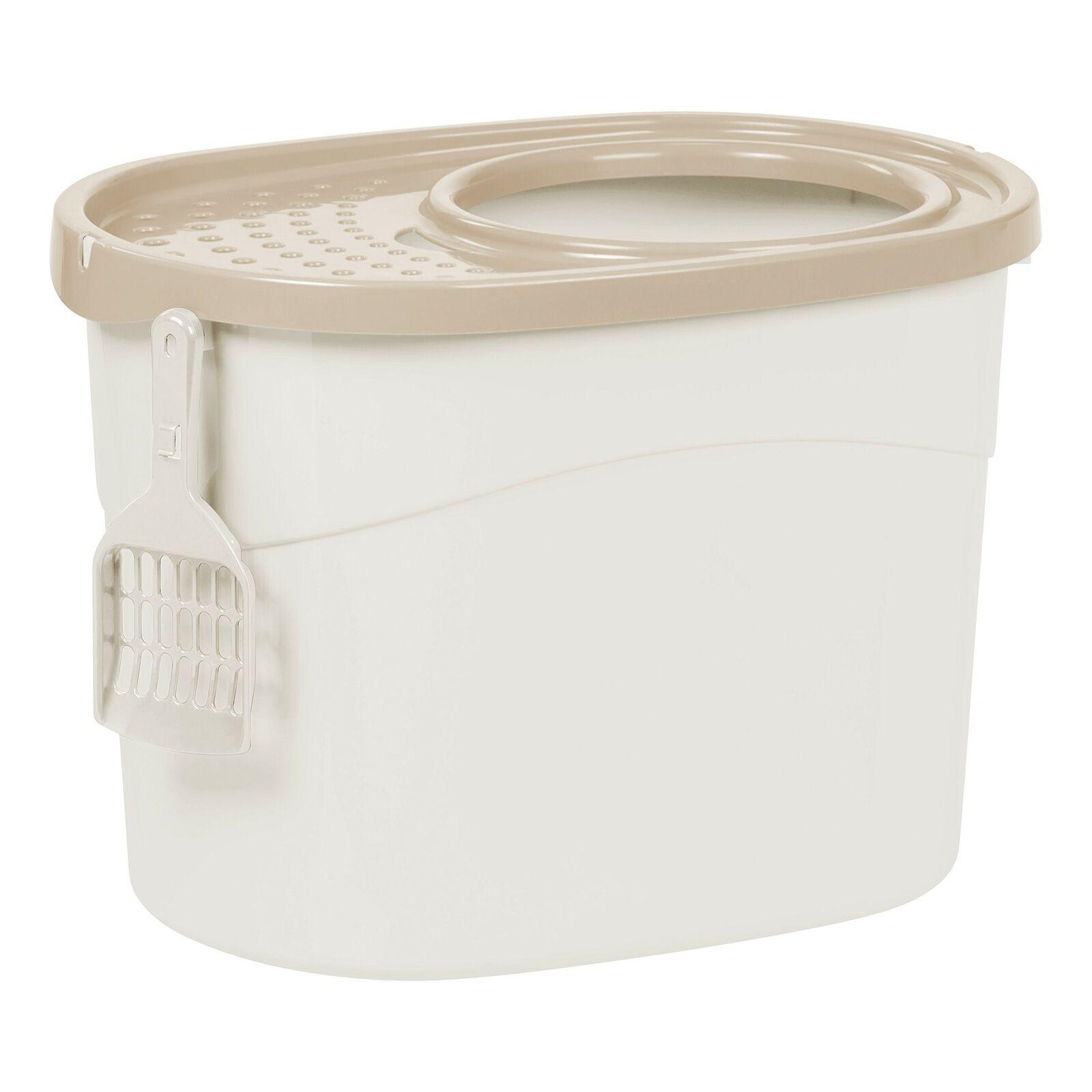 Iris Ohyama Top Entry Cat Litter Box White, Beige, One Size