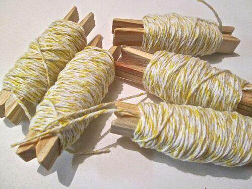 20 ou 50 mètres coton fin bakers twine. jaune candy stripe papier cadeau. tag