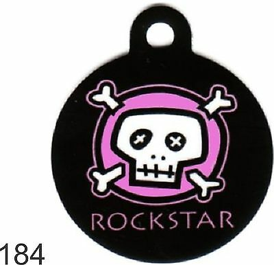 Pet Tag Custom Personalized Pet ID tag for Dog and Cat Collars SKULL ROCKSTAR To
