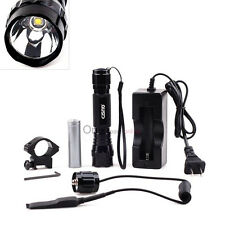 Tactical T6 White light Flashlight Mount with18650 Rechargable Battery+Charger
