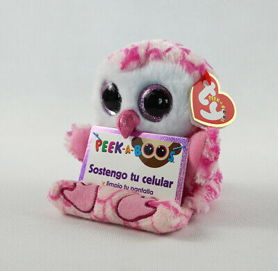 "6/"" TY Peek-A-Boos Milly Owl Phone Holder Plush Stuffed Toy With Tag Glitter Eyes"