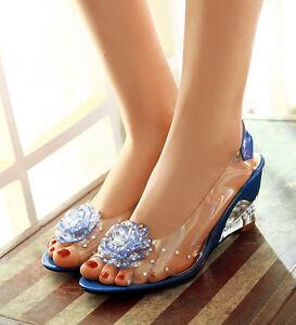 Ladies-Womens-Open-Toe-Crystal-Mid-Wedge-Heels-Flower-Dress-Shoes-Sandals-SZ