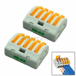 Pleasant Details About 2 Pcs Wago 5 Way Secure Wire Connector Terminal Block Cage Clamp Connection Uk Wiring Digital Resources Antuskbiperorg