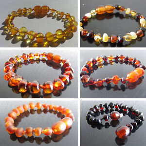 Genuine-Baltic-Amber-Bracelet-Anklet-Beads-Knotted-sizes-14-25-cm-6-colours