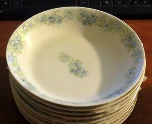 """6 Haviland Limoges Blue Rose Garland 7 1/2"""" Soup Bowls MINT!"""