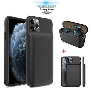 Dettagli su Per iPhone 11 Custodia Batteria Max Pro ESTERNO POWER BANK COVER CARICABATTERIE/TWS AURICOLARE- mostra il titolo originale