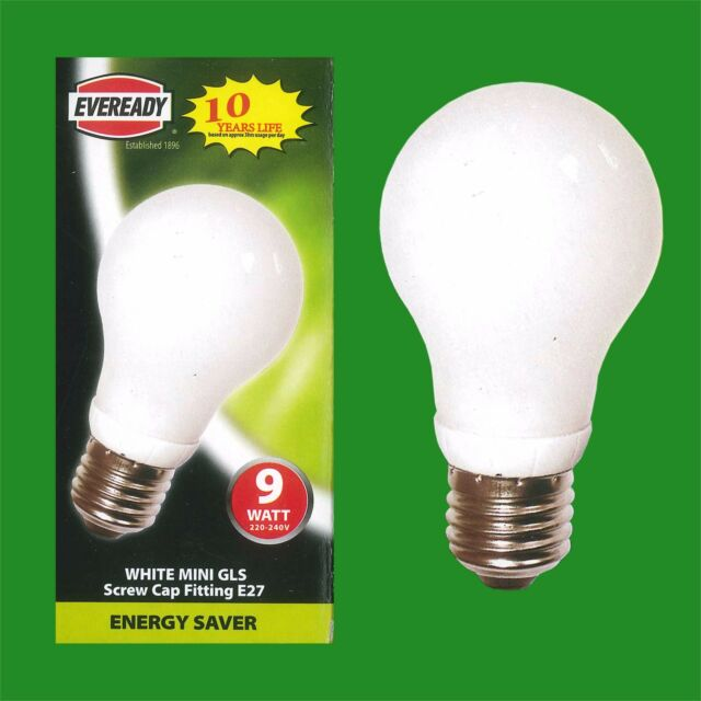 1x 9W Low Energy Mini GLS CFL 3500K White Light Bulb, ES, E27 Edison Screw Lamps
