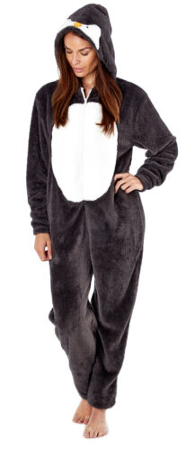 i-Smalls Women/'s Penguin All In One with Fun Hood in Plush Fleece  with Eye Mask