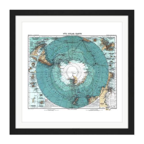 Mapa Petermann HABENICHT 1912 la Antártida alemán Cuadrado Enmarcado Arte de Pared 16X16 en