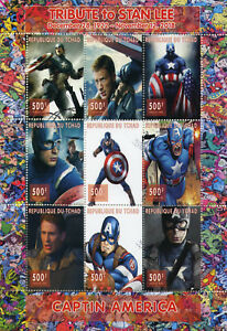 Chad-2018-CTO-Captain-America-Stan-Lee-Superheroes-9v-M-S-Comics-Movies-Stamps