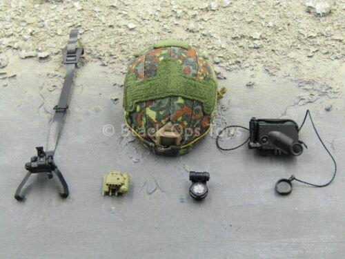 Échelle 1//6 Jouet allemand Kommando Spezialkräfte-Camouflage Casque avec Lucie-NVT Set