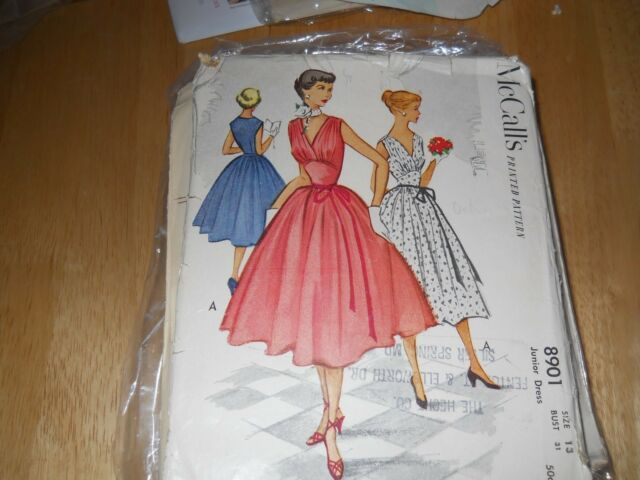 Vintage pattern 1950s women's juniors dress McCalls 8901, size 13