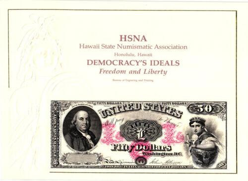 Franklin 1990 B E Souvenir Card -1874 $50.00 Legal  Tender Note B144 P