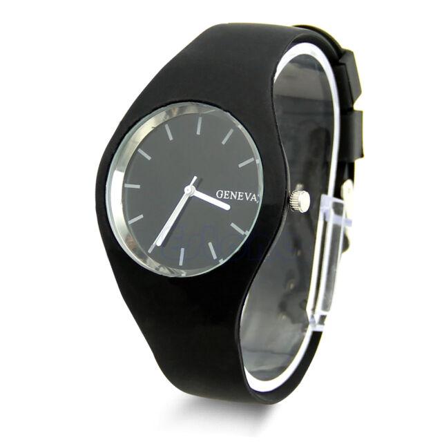 Womens Soft Jelly Silicone Band Dial Quartz Analog Cute Sports Wrist Watch