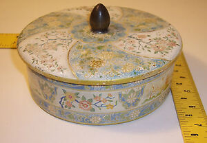 vintage-Made-in-Holland-Tin-container-w-Lid-flower-country-village-Design