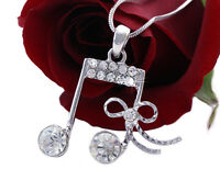 Music Double Eighth 8th Note Bow Ribbon Pendant Necklace Fashion Jewelry N2039c