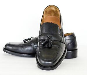 Men-Bostonian-Black-Tassel-Loafer-Slipon-Shoes-8M-EUC