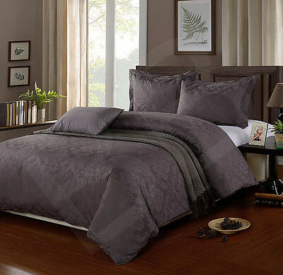 100% Egyptian Cotton 500 Thread Count Damask Jacquard Duvet Cover Set SLATE GREY