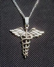Caduceus Symbol Silver Tone Pendant Necklace