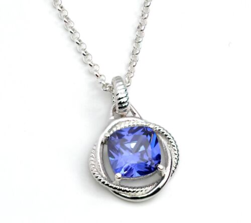 US Seller TANZANITE INFINITY NECKLACE Cushion Cut 8mm .925 Sterling Silver