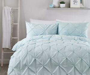 RUCHED PINTUCK DIAMONDS DUCK EGG BLUE COTTON BLEND SINGLE DUVET COVER