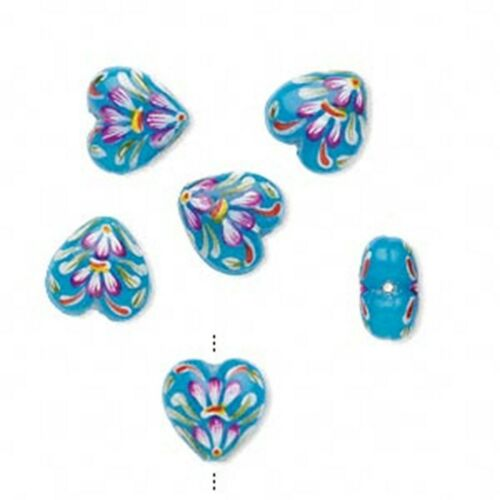 1462 Lampwork Glass Heart Beads Blue Floral 18mm PK2 *UK  SHOP*
