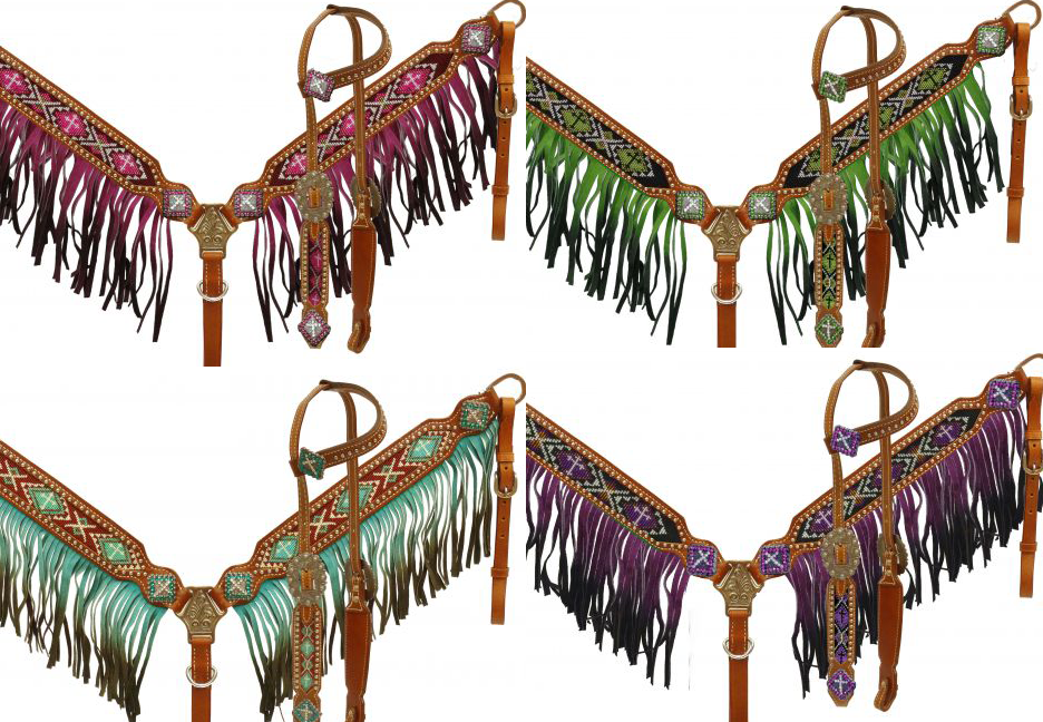 mostrareuomo OMBRE FRINGE Breast Collar Single Ear BEADED CROSS Bridle & Reins SET
