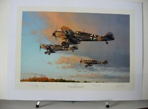 Hunters-At-Dawn-Me109-Barkhorn-JG52-Robert-Taylor-2-Aces-Signed-Aviation-Art