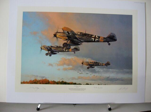 Hunters At Dawn Me109 Barkhorn JG52 Robert Taylor 2 Aces Signed Aviation Art