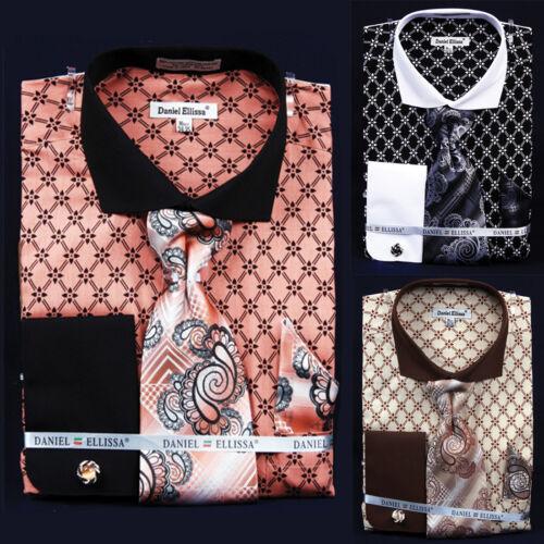 NEW MAN FRATELLO Formal Casual Dress Shirt Tie /& Hanky Cuff Links Luxury FRV4126