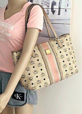 Original MCM Schultertasche medium Elfenbein Tasche Visetos Bag Ivory Shopper | eBay