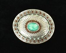 ~ TURQUOISE Western Belt Buckle ~ AMBER CRYSTALS ~ Rhinestone Cowgirl 37975