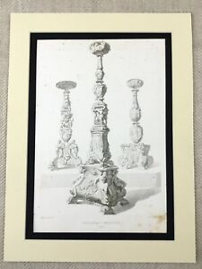1857-Antique-Engraved-Print-Ornate-Italian-Bronze-Church-Candelabra-Italy