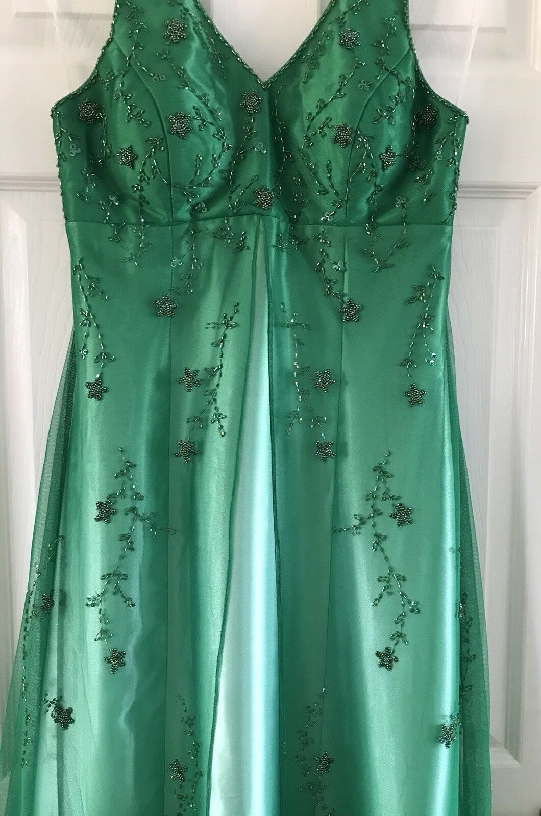 Stunning TWO ROADS Emerald Green Full Length Dress With Beaded Net Overlay