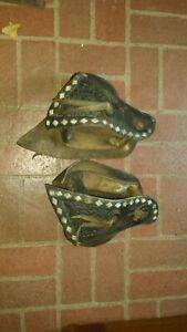SADDLE TAPADEROS w/ WOOD STIRRUPS BLACK TOOLED DIAMOND SPOTS HORSE VINTAGE