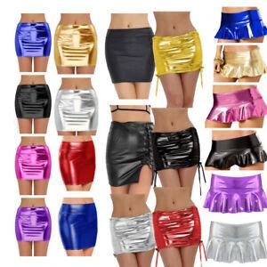 Women-Wetlook-PVC-Leather-Bodycon-Short-Mini-Skirt-High-Waist-Underwear-Clubwear