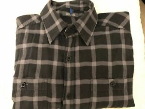 Kenneth-Cole-Reaction-Dark-Grey-Checkered-Button-Down-Shirt-Men-s-Size-Small