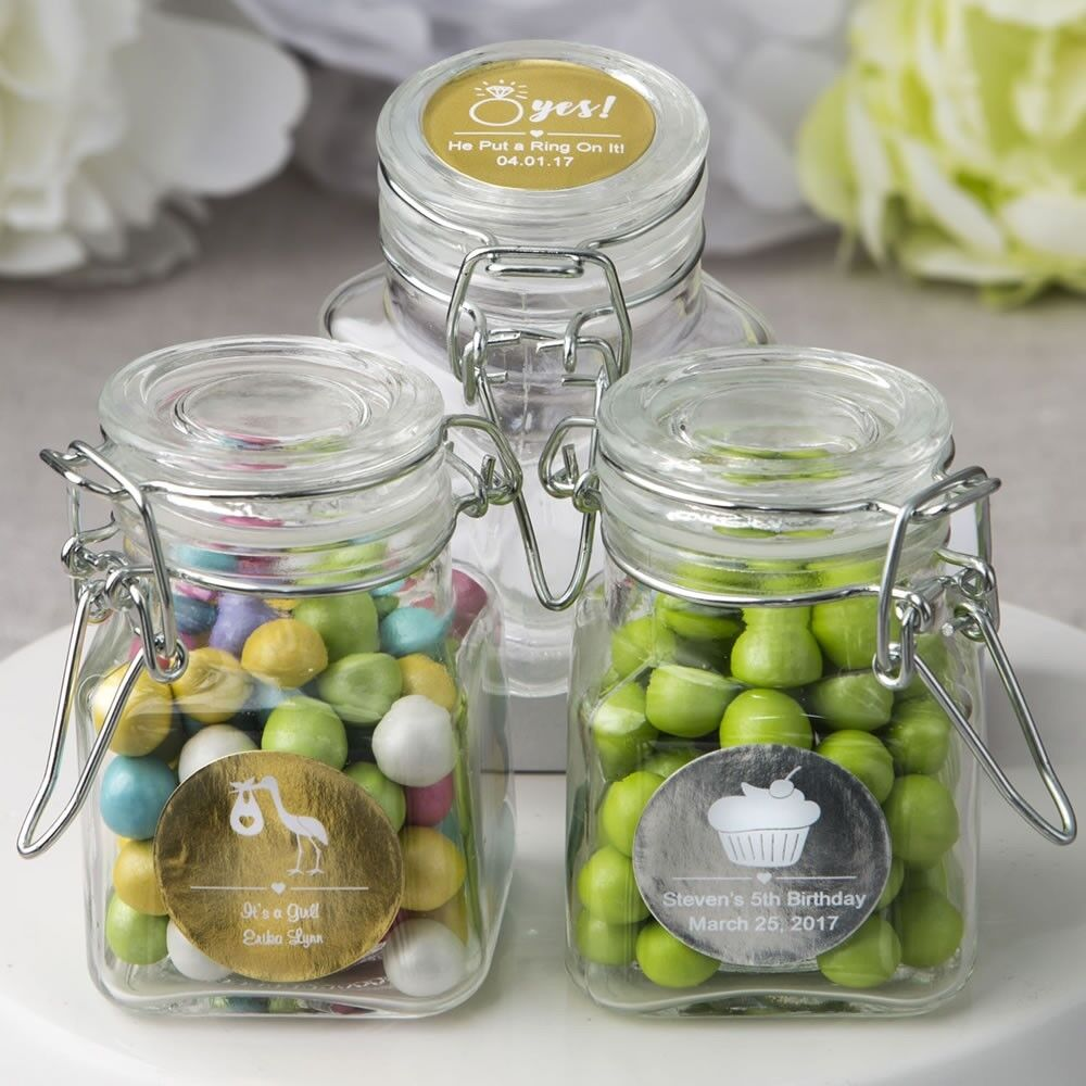 30 Personalized Glass Apothecary Candy Jar Baby Shower Christening Party Favors