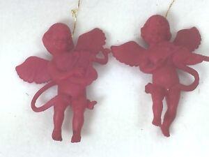 2-Vintage-Raspberry-Cherub-Hong-Kong-Angel-25259-Ornament-Cherubs-Ornaments
