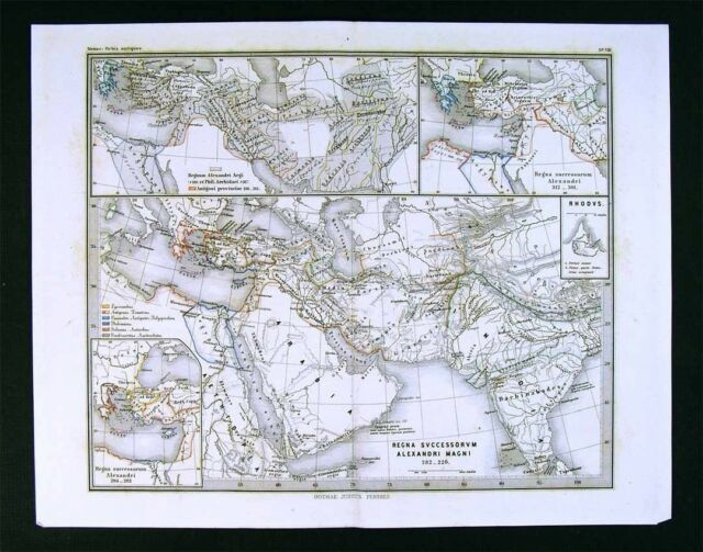 Hellenistic Greece Map.1866 Stulpnagel Map Alexander Empire Middle East Routes India